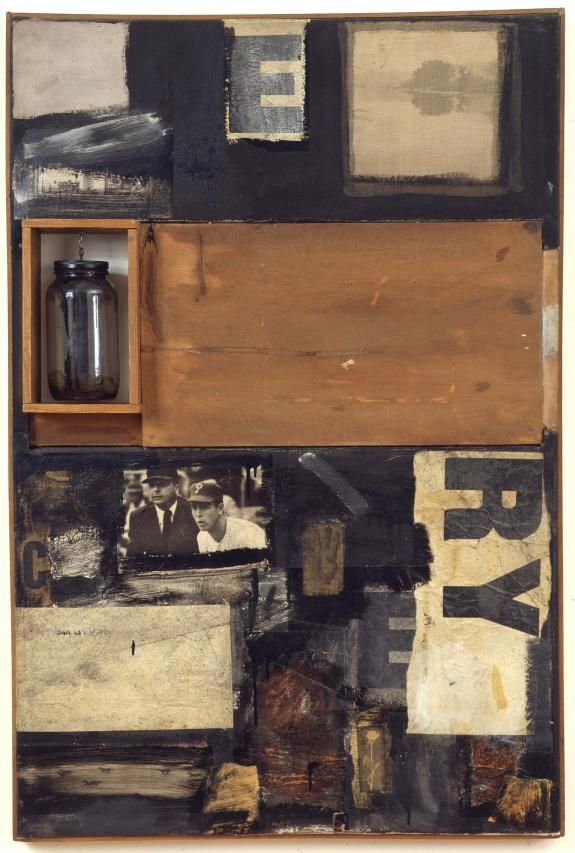 Robert Rauschenberg - 1958, Talisman Combine: oil, paper, printed paper, printed reproductions, wood, glass jar on metal chain and fabric on canvas (107 x 71.1 x 11.4 cm) Des Moines Art Center, Iowa
