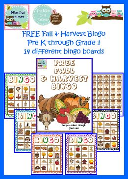 Fall & Harvest Bingo (free)