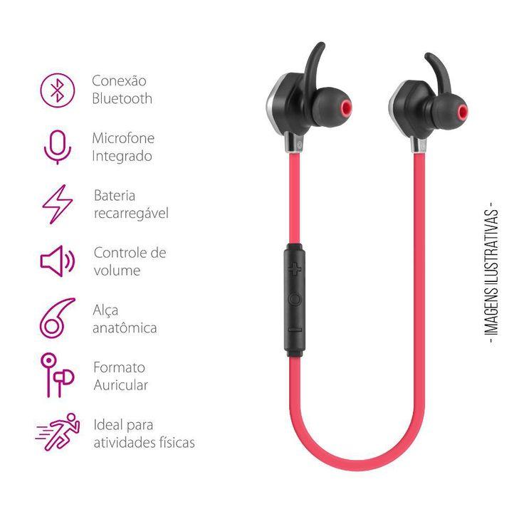 Fone Bluetooth Vermelho Action Running - Submarino.com