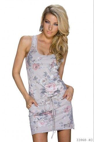 Φλοράλ μίνι φόρεμα με ζωνάκι - Γκρι Μπεζ