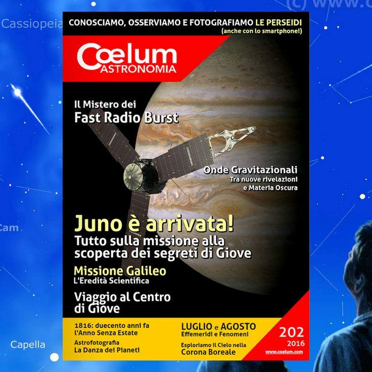 Coelum e il Grand Tour del Sistema Solare: lo Speciale per luglio è dedicato a #Giove, di cui la sonda #Juno, in orbita tra pochi giorni, è pronta a scoprire i misteri. #July4th #Jupiter  E uno speciale anche per agosto: come non parlare dello sciame più amato del mondo: arrivano le #Perseidi!