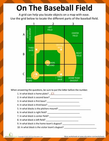 Worksheets: Baseball Field Diagram