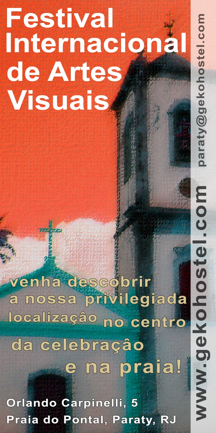 The Paraty International Visual Arts Festival in its second edition, has the goal of promoting the local culture and to integrate local and international artists in this amazing scenery that is the peaceful historic town of Paraty. It will take place from the 20th till the 29th of August.   Paraty accommodation packages:  http://www.gekohostel.com/en/Paraty-packages-promotional-holidays-package-76