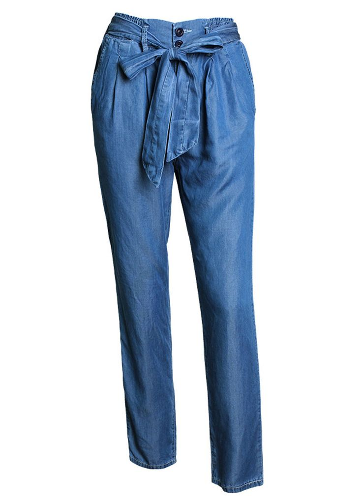 Tied-Waist Wash Denim Loose Denim Jeans_Boyfriend Jeans_Women Jeans_Sexy Lingeire | Cheap Plus Size Lingerie At Wholesale Price | Feelovely.com