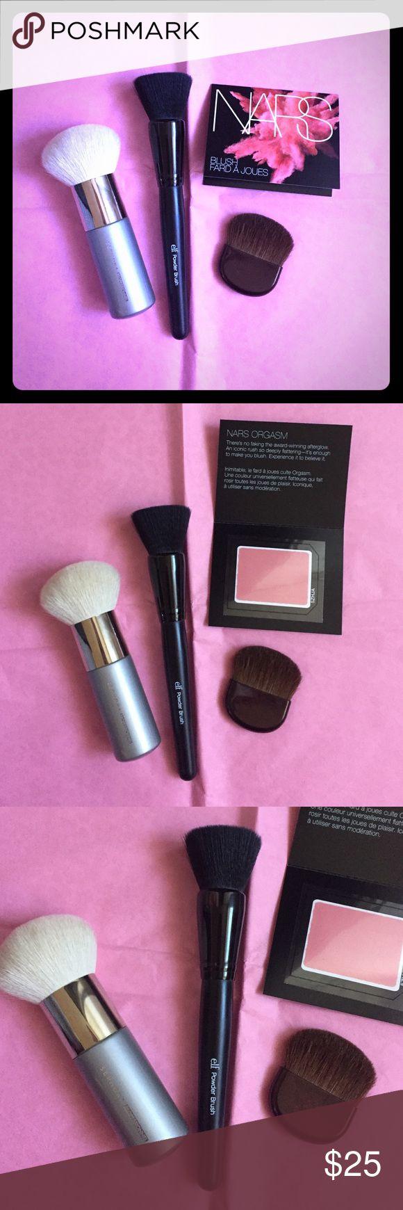⚡flash sale✨ bundle ! bundle - sephora bronzer brush, elf powder brush, shiseido bronzer brush, nars orgasm sample blush. NO TRADE Sephora Makeup Brushes & Tools