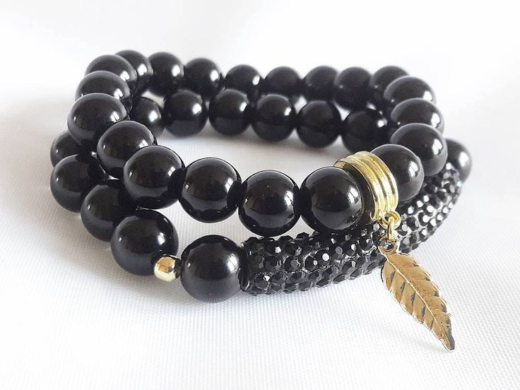 Black Beads Bracelet for Woman, Beaded Bracelet with Leaf Charm, Gift for Her, Gift for Woman Unique Bracelet for Gift, Bracelet for Friend by modotikon on Etsy