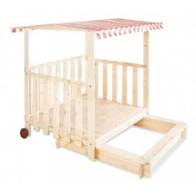Houten speelhuis met zandbak - Buitenspeelgoed