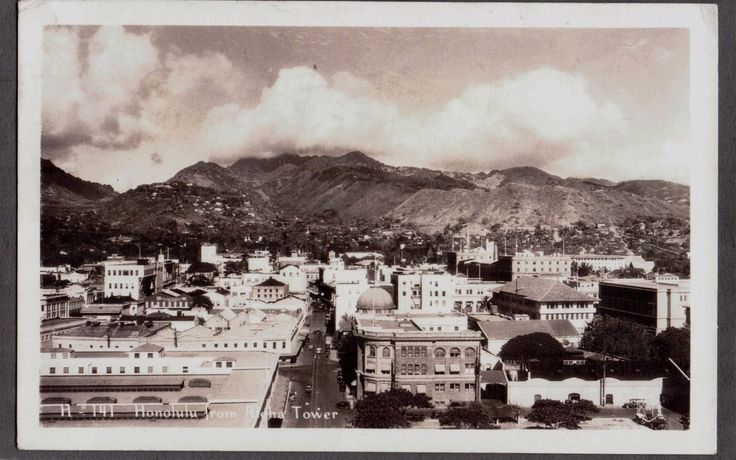 Vintage Rppc Ww11 Hawaiian 1944 Honolulu From Aloha Tower Old Hawaii Pc Postcard Hawaii To Las