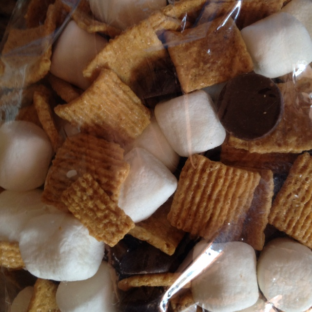 S'mores mix for a camp party invitations or favors...could also use teddy
