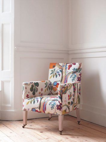 Bloomsbury Library Chair in Josef Frank frabic by Ben Pentreath Ltd.