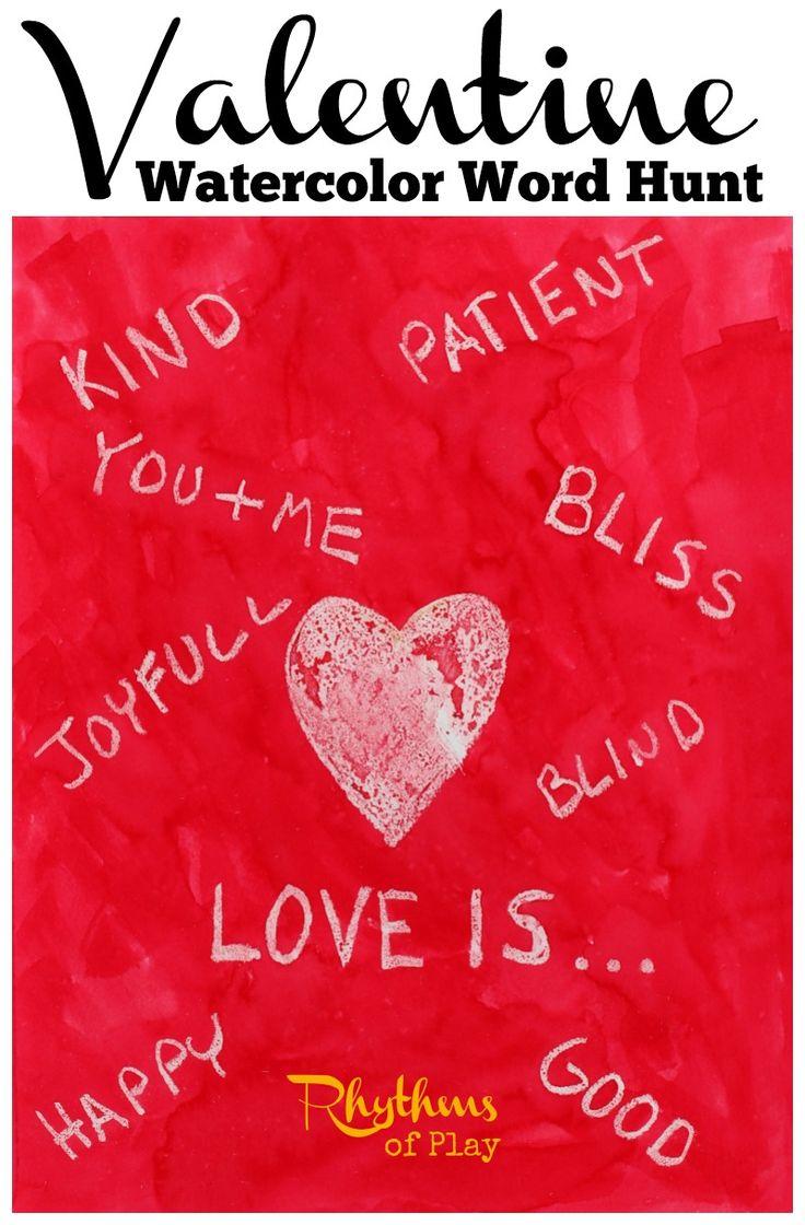 Valentine Watercolor Word Hunt