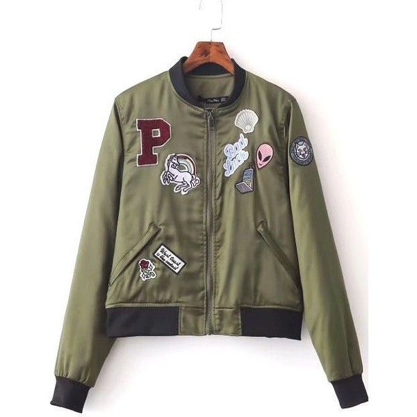 Letters Graphic Appliqued Zipper Up Long Sleeve Bomber Jacket (140 RON) ❤ liked on Polyvore featuring outerwear, jackets, olive green jackets, long flight jacket, long sleeve jacket, zipper jacket and olive jacket