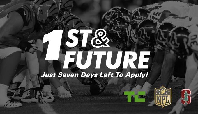 Only One Week To Submit Your Application For 1st And FutureThere is exactly one week until applications close for 1st and Future the startup competition that TechCrunch is staging with the NFL and Stanford University on February 6 at Stanfords CEMEX Auditorium. Get your application in today. Four startups will compete for top honors in each of the competitions three categories: Tomorrows Athlete Bringing Home the Game and The Read More