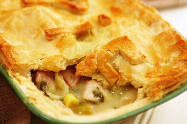 Chicken or Turkey and ham pie