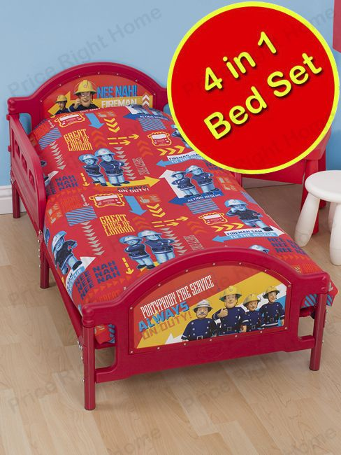Fireman Sam Alarm 4 in 1 Junior Rotary Bedding Bundle Set Duvet, Pillow, Covers. Matching items at Play Rooms