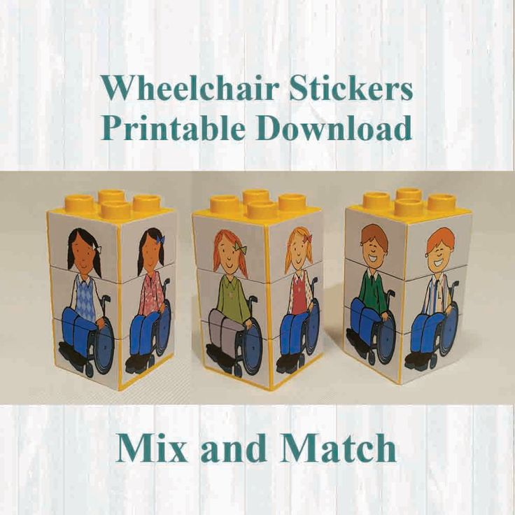 Wheelchair Stickers,Fridge magnets, Building blocks. Fits on Lego, Instant digital download Printable by MoonGloCreations on Etsy