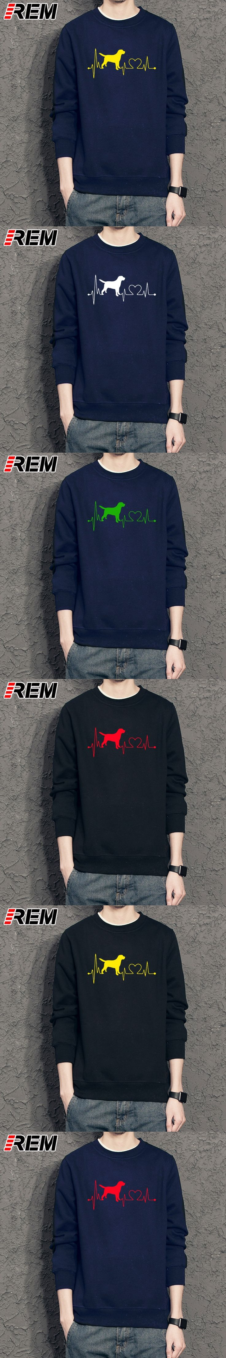 REM Men's Hoodies, Sweatshir Dog Lover Heartbeat Print Men Funny Printed LONG Sleeve Tops Gift Cotton Hoodies, Camisetas