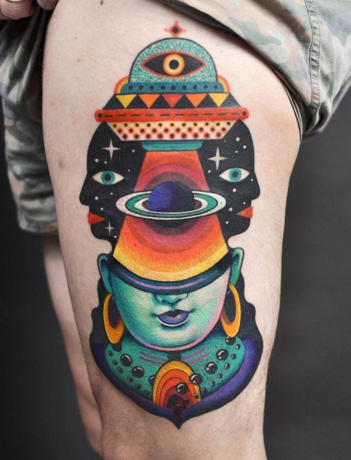 Small Whale Tattoo Awesome Colorful Leg Tattoo In 2020 Psychedelic Tattoos Leg Tattoos Tattoos