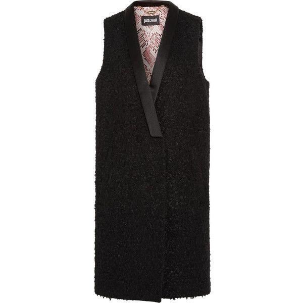 Just Cavalli Satin-trimmed bouclé vest (25,625 PHP) ❤ liked on Polyvore featuring outerwear, vests, black, petite vests, lapel vest, vest waistcoat and just cavalli