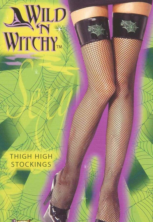 ad964a160 Wild n Witchy Witch Thigh Highs Black Fishnet Stockings Spiderweb Womens  Hosiery 721773604812 eBay Thigh Highs Black