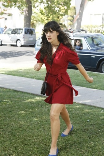 red wrap dress and blue ballet flats