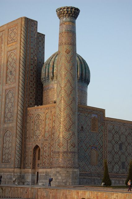 The Gūr-e Amīr, is a mausoleum of the Asian conqueror Tamerlane in Samarkand, Uzbekistan. Timur, historically known as Tamerlane, was a Turco-Mongol conqueror and the founder of the Timurid Empire in Persia and Central Asia. He was also the first ruler in the Timurid dynasty. Timur is considered the last of the great nomadic conquerors of the Eurasian Steppe, and his empire set the stage for the rise of the more structured and lasting Gunpowder Empires in the 1500's and 1600's. (V)
