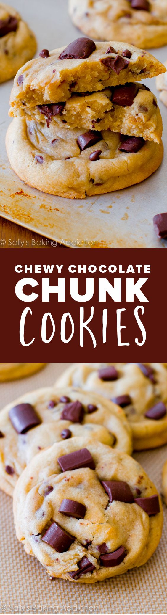 The chewiest, softest, thickest chocolate chip cookies with cornstarch and extra brown sugar for softness! Easy cookie recipe http://sallysbakingaddiction.com/2013/05/13/chewy-chocolate-chunk-cookies/