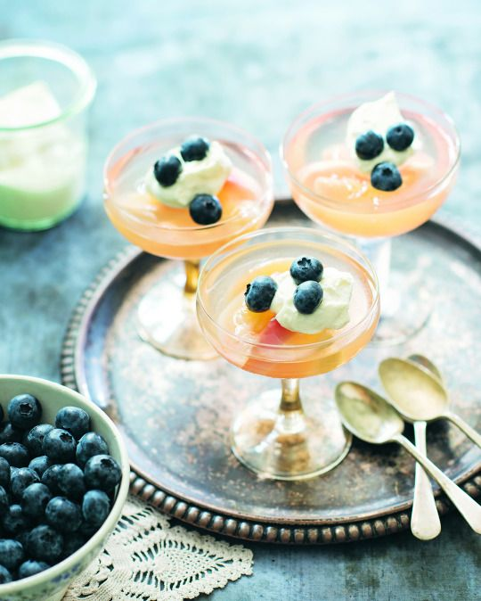 White peaches with blueberries and Sauvignon Blanc jelly from Matthew Evans 'Summer on Fat Pig Farm'