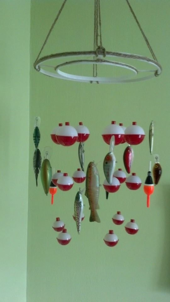 Bobber And Fish Mobile. Baby Boy Fish Themed Nursery. (no Link Just