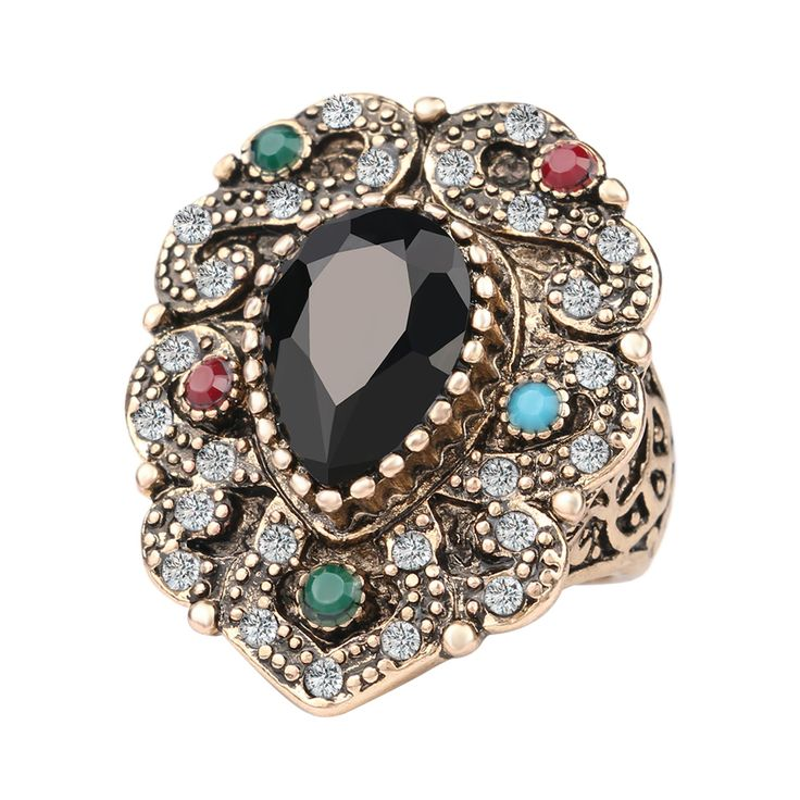 Fashion Vintage Engagement Rings Black Water Drops Resin Mosaic AAA Crystal plated Ancient Gold Jewelry 2016 New Free Shipping