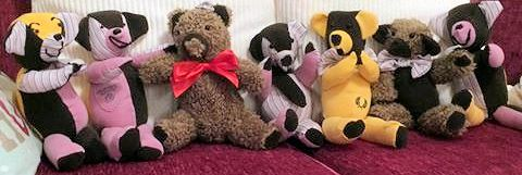 Remembrance Teddies - Made from a Grandads clothes for his grandchildren