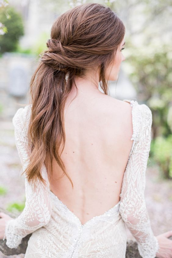 Wedding Hair Perfection! The Wrapped Pony Tail. Looking for the perfect 'do for your Big Day? Check out these 18 elegant examples of super relaxed and oh-so-romantic summer wedding hairstyles!