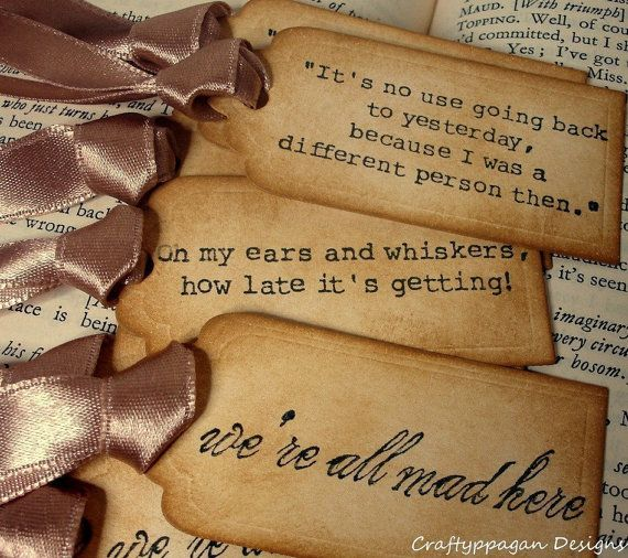 Alice in Wonderland Quote Gift Tags 9 Luxury by craftypagan, $9.20
