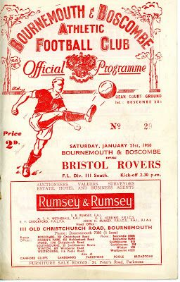 bournemouth 1950 | The Bournemouth (and Boscombe) programme from 21 Jan 1950 which Rovers ...
