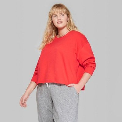 dd67804856ec3 Women s Plus Size Raw Edge Crew Sweatshirt - Wild Fable Rocker Red ...