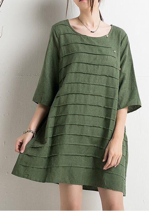 Woo!!! 2016 New designed cotton sundress plus size green summer dresses, half sleeve, shift dresses