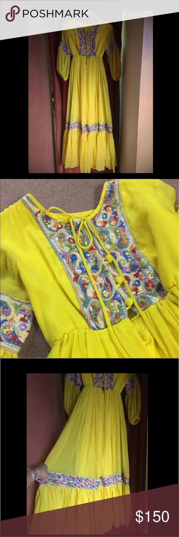 Truly vintage 1960's handmade yellow prom dress! This dress is completely handmade! It was gifted to me to wear but in no way will I ever be able to fit into it! This is a small or xs. I'll be happy to measure for you! This is perfect for a hippy wedding! A festival, a ceremony for a loved one. Their is no other dress like this one. Totally custom! Open to reasonable offers. Dresses Maxi
