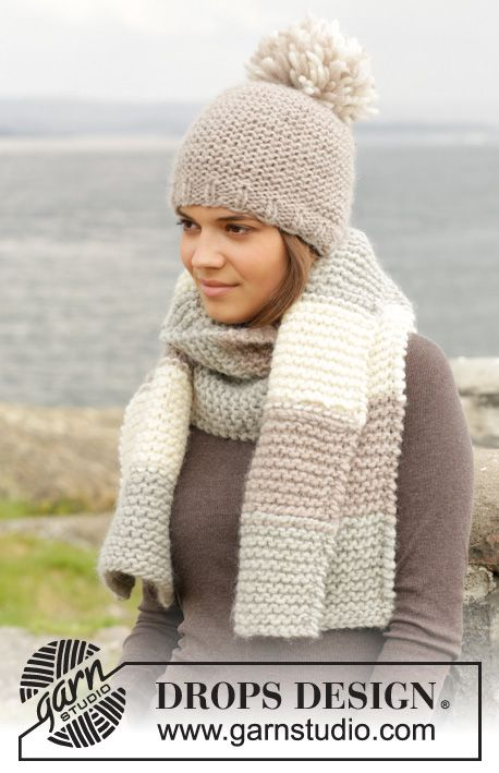 """Selma - Knitted DROPS hat and scarf in garter st in """"Andes"""". - Free pattern size 11 needles"""