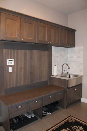 """Craftsman Mud Room with Strands 12"""" x 24"""" Porcelain Wood Tile in Olive by Emser Tile, Hardwood floors, High ceiling, Carpet"""
