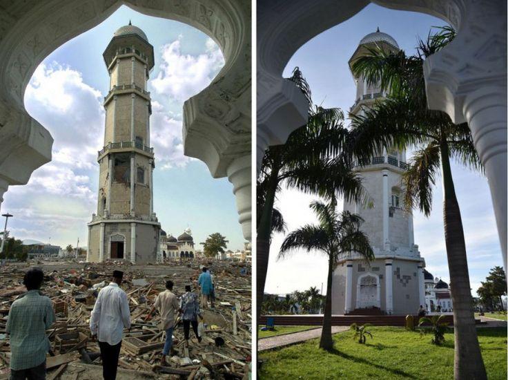 La mosquée Baiturrahaman de Banda Aceh, en 2004 et 2014.