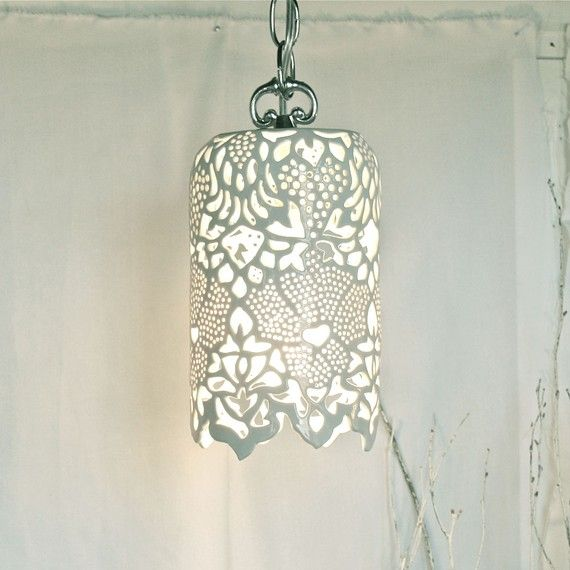 Carved White Porcelain Pendant Lamp from 'Isabelle Abramson Ceramics'