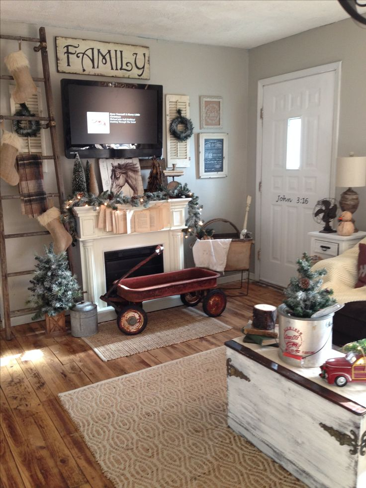 Farmhouse christmas vintage flea market living room neutral decor