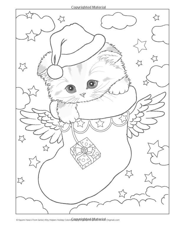 Kitten Christmas Cat Coloring Pages.Santa S Kitty Helpers Holiday Coloring Book Design
