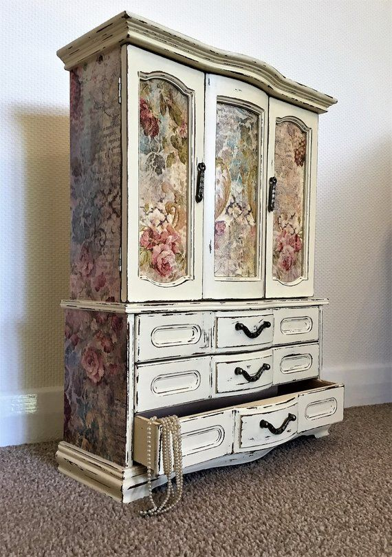 Large Jewellery Armoire Shabby Chic Jewellery Armoire Extra Large Jewelry Box Upcycled Jewelr Upcycled Furniture Diy Jewelry Box Makeover Shabby Chic Furniture