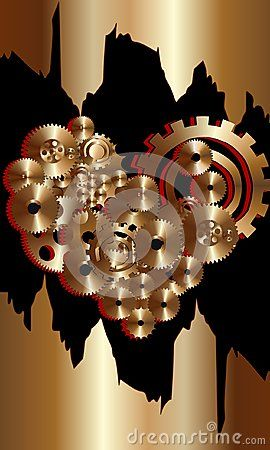 Bronze gears with red contour on black background.