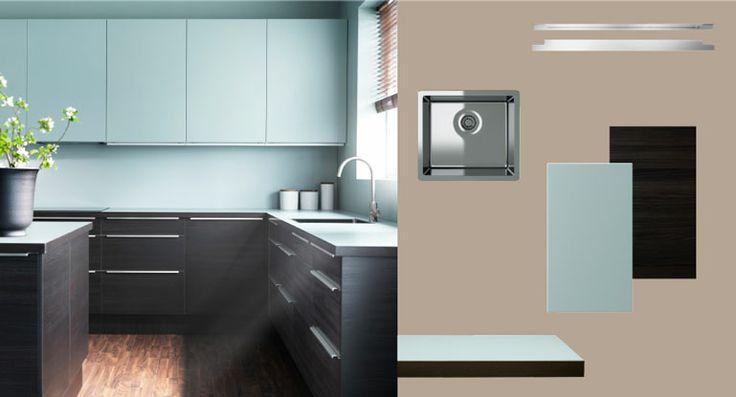 FAKTUM Küche mit GNOSJÖ Türen Schubladen Holzeffekt schwarz und - küchenfronten neu beschichten
