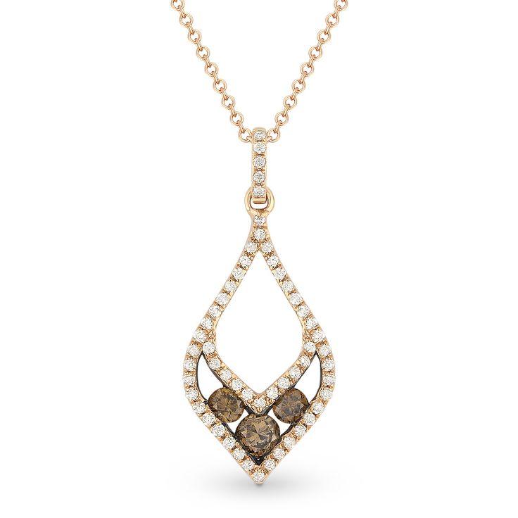0.39ct Brown Diamond Trio & White Diamond Pave Pendant & Chain Necklace in 14k Rose & Black Gold - AlfredAndVincent.com