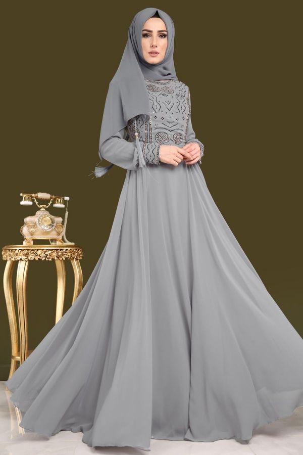 0861005ecf52d Taşlı Şifon Tesettür Abiye DMN7977-S Gri | Şifon Abiyeler | Model pakaian,  Pakaian, Model