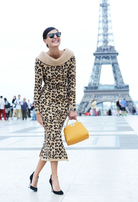 Spring '14 Paris Fashion Week Street-Style Photos by Tommy Ton Giovanna Battaglia animal print retro 60s madmen
