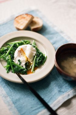 winter Breakfast - egg with greens, miso soup  and toasts